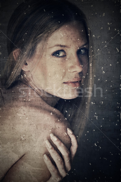 beauty behind window with rain drops Stock photo © lubavnel