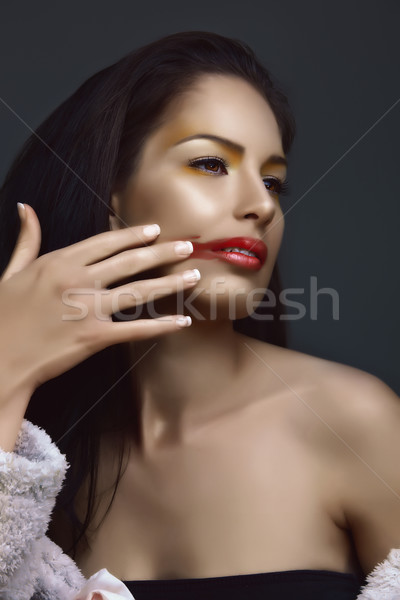 brunette removing lipstick Stock photo © lubavnel