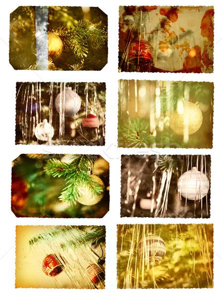 Сток-фото: Рождества · Vintage · деревья · стекла