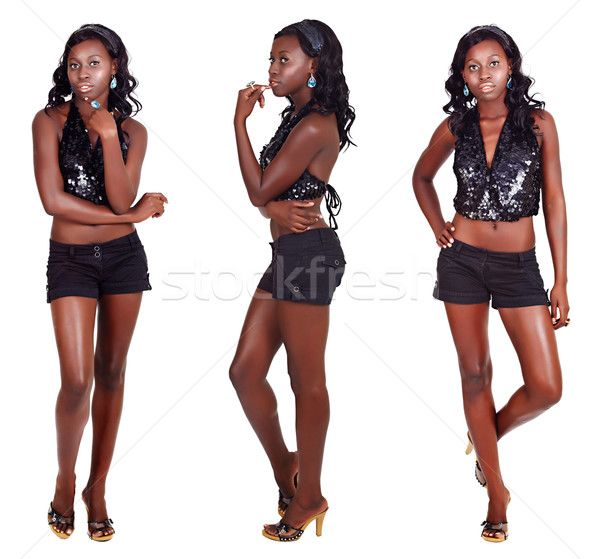 three poses of African woman with long hair Stock photo © lubavnel