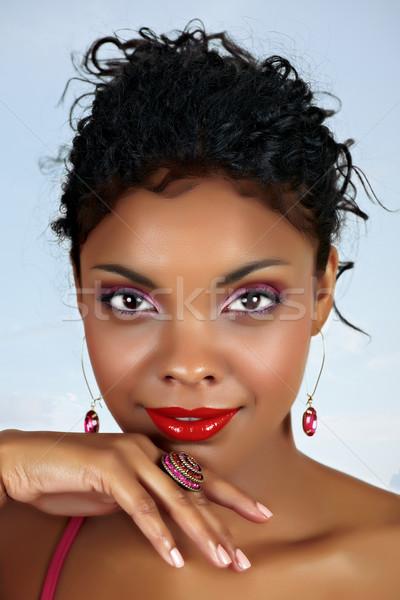 Photo stock: Belle · africaine · femme · lèvres · rouges · rose · fard · à · paupières