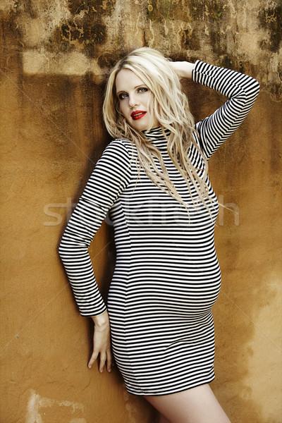 Foto stock: Belo · oito · meses · grávida · loiro · mulher