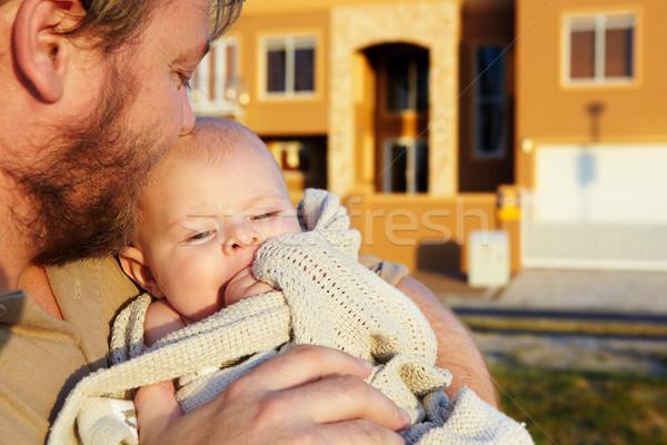 отцом сына сын отец за пределами вечер солнце Сток-фото © lubavnel