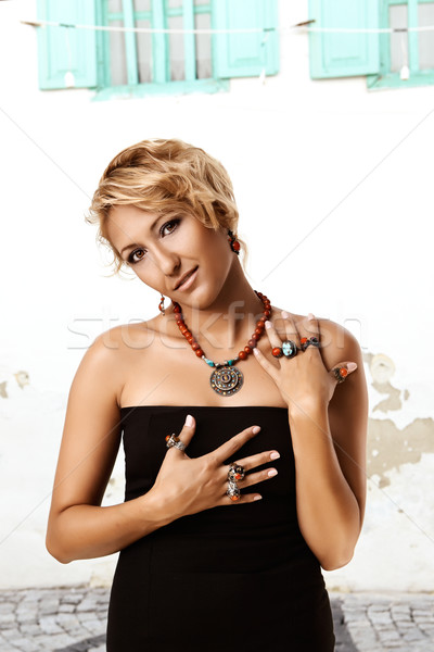 woman with Turkish Ottoman rings Stock photo © lubavnel