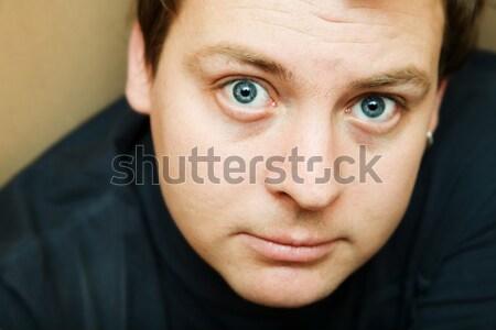 Délelőtt siralmas fiatalember néz arc portré Stock fotó © lubavnel