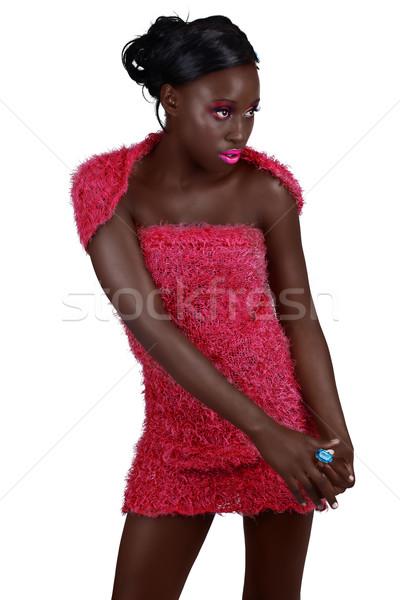 Afryki kobieta różowy piękna długie włosy jasne Zdjęcia stock © lubavnel