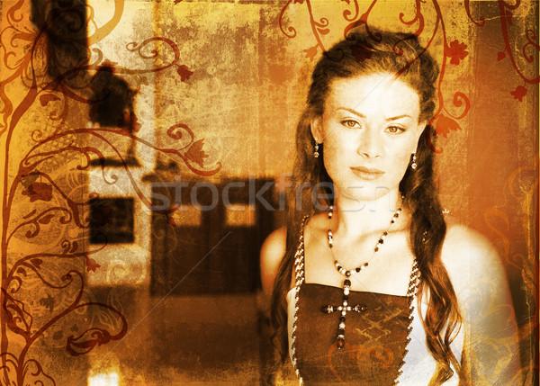 Grunge beautiful bride with long hair Stock photo © lubavnel