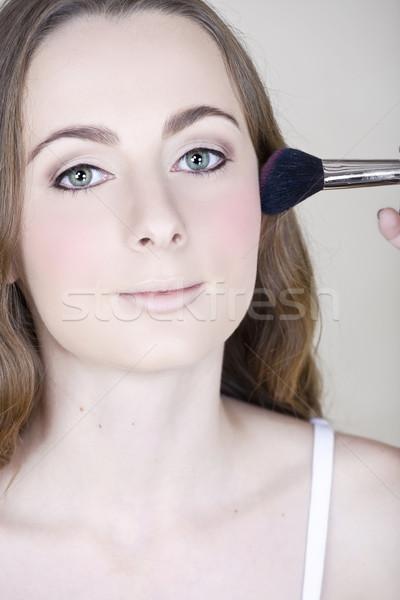 Smink bőrpír fiatal nő zöld szemek hosszú barna haj Stock fotó © lubavnel