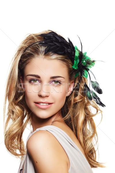 Gyönyörű szőke nő szőke nő fürtös hall lány Stock fotó © lubavnel