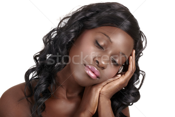 African dreaming beautiful woman Stock photo © lubavnel