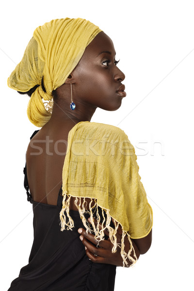 serious South African woman with yellow scarf. Stock photo © lubavnel