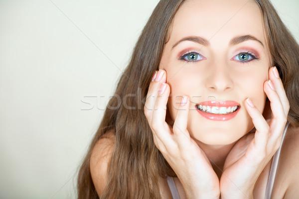 девушки длинные волосы зеленые глаза красивой брюнетка рано Сток-фото © lubavnel