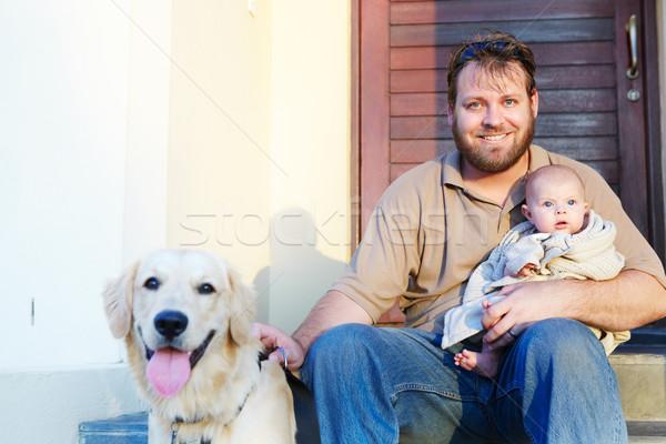 Stock fotó: Apa · fia · kutya · apa · baba · fiú · ül