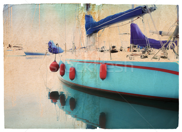Stock photo: Grunge yacht postcard