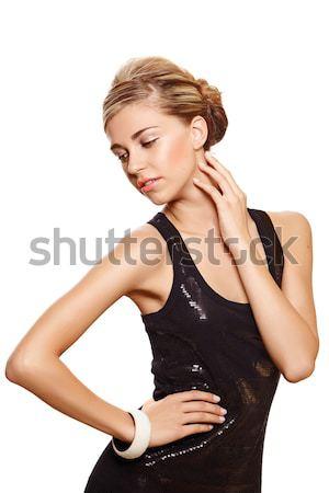 beautiful woman in black fashion dress. Stock photo © lubavnel