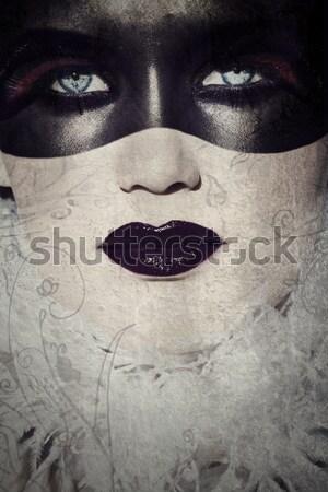 グランジ ゴシック 美 美人 化粧 カバー ストックフォト © lubavnel