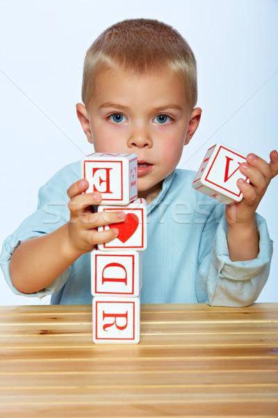 Сток-фото: мальчика · играет · алфавит · блоки · мало · год