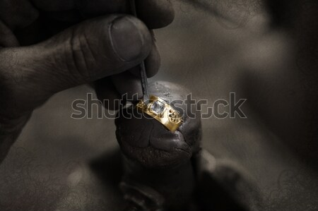 Goldsmith and diamond ring. Stock photo © lubavnel
