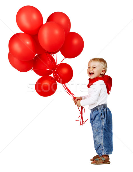 boy with red ballons. Stock photo © lubavnel