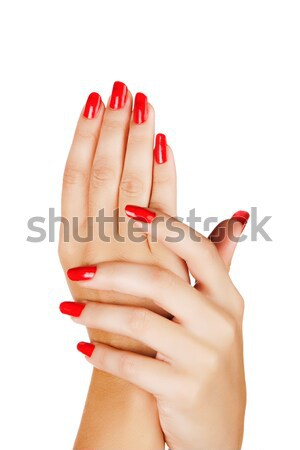 woman hands with red nails Stock photo © lubavnel