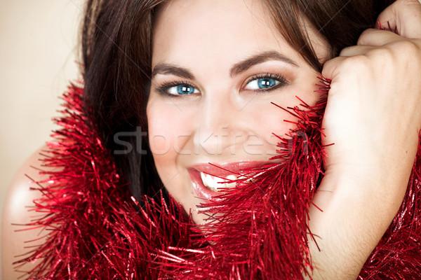 Beautiful woman with long brown hair Stock photo © lubavnel