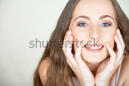 Kollázs smink gyönyörű boldog nő smink Stock fotó © lubavnel