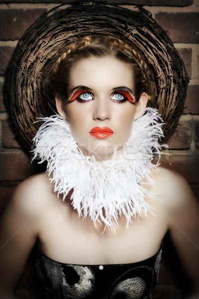 Gótikus nő gyönyörű nő toll nyaklánc hamis Stock fotó © lubavnel
