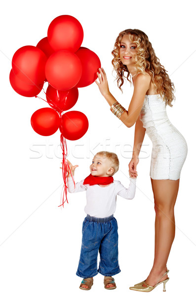 woman and little boy with red balloons Stock photo © lubavnel