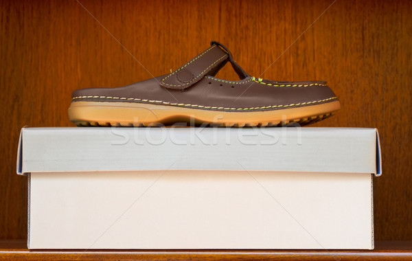 brown shoe on box Stock photo © lubavnel