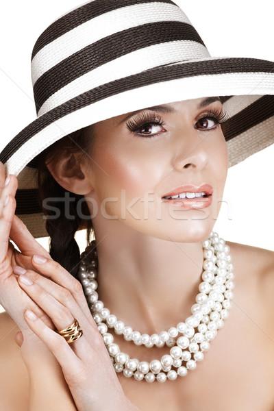 Stock fotó: Gyönyörű · nő · feketefehér · szalmaszál · nyár · kalap · gyöngyök
