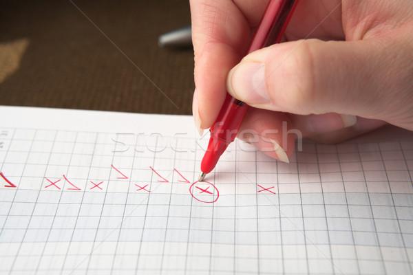 Test papier Rood pen vrouw leraar Stockfoto © lubavnel