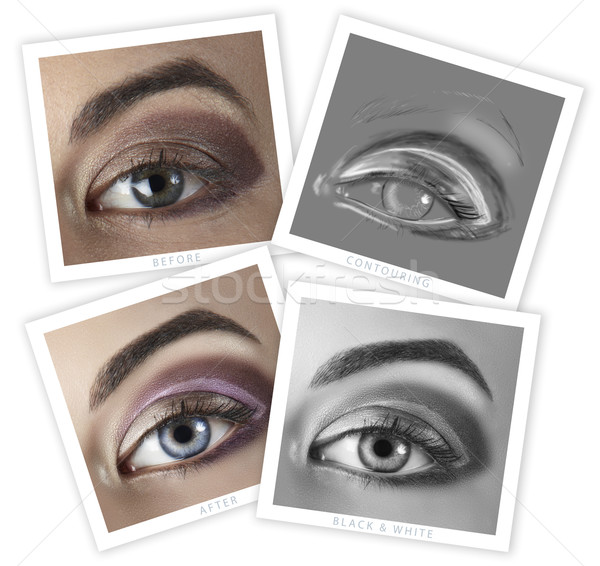 Stock photo: eye retouching before and after