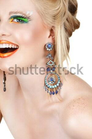 Mulher brincos falso belo loiro brilhante Foto stock © lubavnel