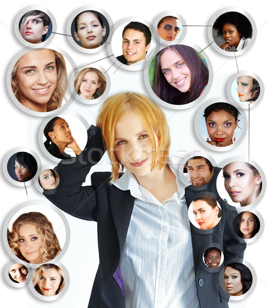 young woman social networking Stock photo © lubavnel