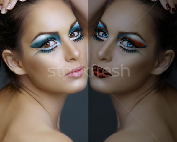Woman with turquoise make-up. Stock photo © lubavnel