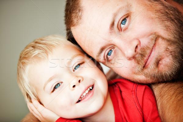 Apa kisgyerek fiú kék szemek boldog közelkép Stock fotó © lubavnel