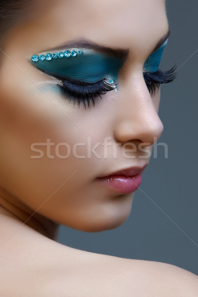 woman with bright blue make-up Stock photo © lubavnel