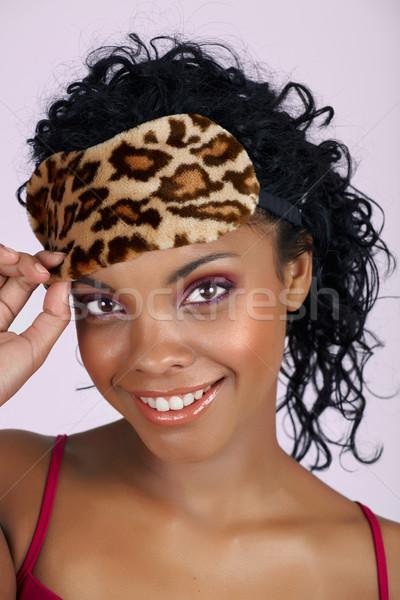 Güzel Afrika kadın uyku maske doğal Stok fotoğraf © lubavnel