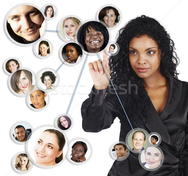 Rede social africano americano empresária ilustração jovem amigos Foto stock © lubavnel