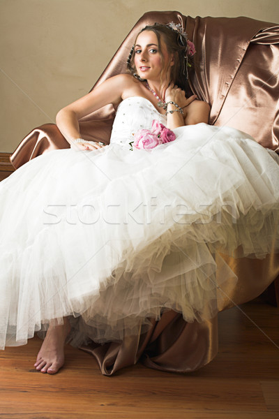 bride with brown long hair sitting in chair Stock photo © lubavnel