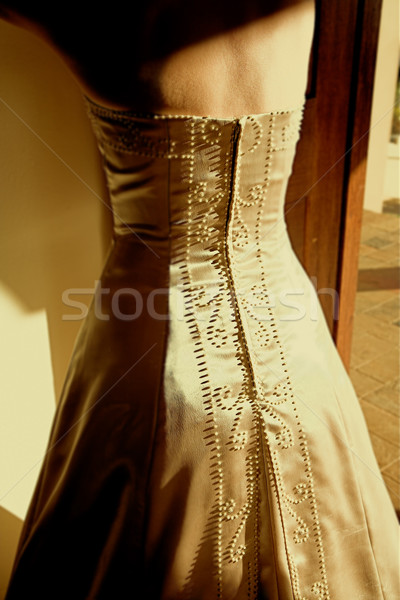 Bride in sleeveless wedding dres Stock photo © lubavnel
