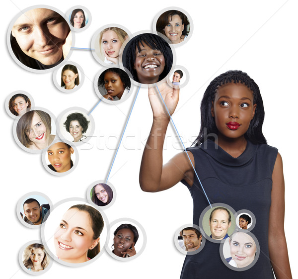 African American businesswoman social network Stock photo © lubavnel