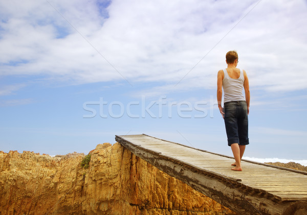 Young woman on bridge Stock photo © lubavnel