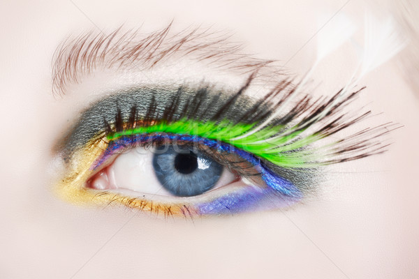 macro eye with false lashes Stock photo © lubavnel