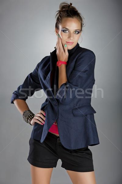 Nő vászon kabát rövidnadrág gyönyörű fiatal nő Stock fotó © lubavnel