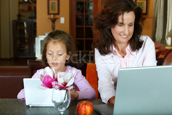 mother and daughter with laptops Stock photo © lubavnel