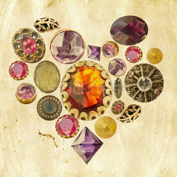 драгоценный камней сердце Гранж Драгоценные камни формы сердца Сток-фото © lubavnel