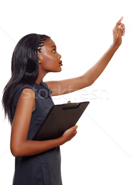афроамериканец деловой женщины портрет указывая вверх Сток-фото © lubavnel