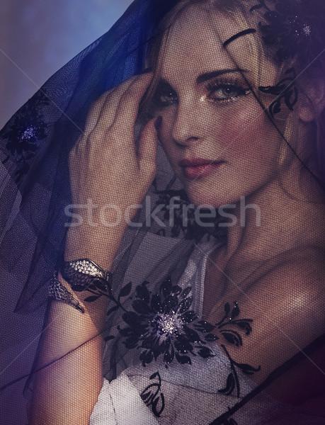 Photo stock: Femme · noir · voile · portrait · romantique · belle · femme