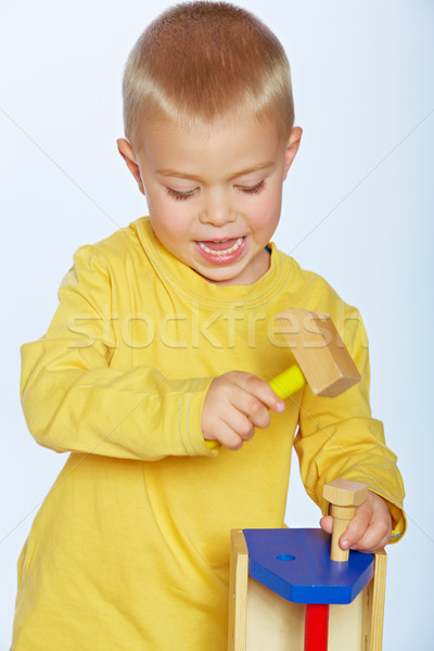 boy with toy hammer Stock photo © lubavnel